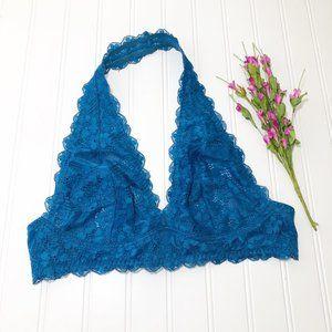 Free People Bright Blue Lace Halter Bralet Medium